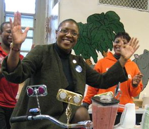 Letitia James on Habana Outpost's bike blender